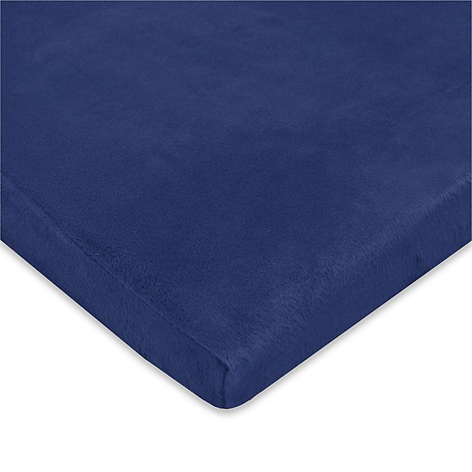 Alternate image 1 for TL Care® Heavenly Soft Chenille Playard Fitted Sheet in Navy