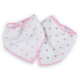 aden by aden + anais® 2-Pack Darling Bandana Bibs in Pink/White/Grey