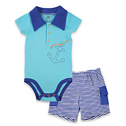 BabyVision® Hudson Baby® 2-Piece Anchor Bodysuit and Cargo Short Set in Blue