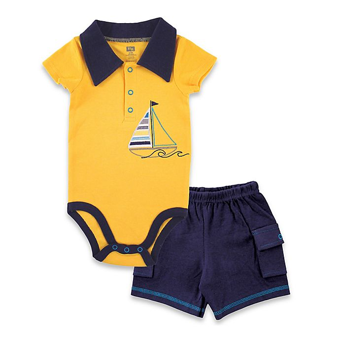 Alternate image 1 for BabyVision® Hudson Baby® 2-Piece Sailboat Bodysuit and Cargo Short Set in Yellow