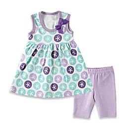 BabyVision® Hudson Baby® 2-Piece Sleeveless Sand Dollar Dress and Legging Set in Purple
