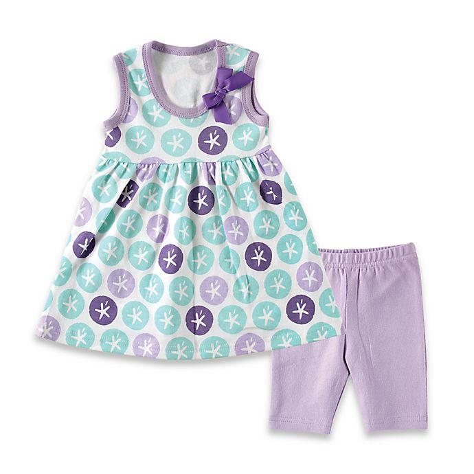 Alternate image 1 for BabyVision® Hudson Baby® 2-Piece Sleeveless Sand Dollar Dress and Legging Set in Purple