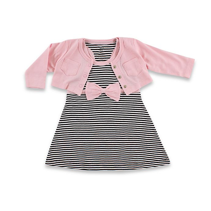 Alternate image 1 for BabyVision® Hudson Baby® 2-Piece Racerback Dress with Cardigan Set in Black/Pink