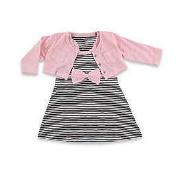 BabyVision® Hudson Baby® 2-Piece Racerback Dress with Cardigan Set in Black/Pink