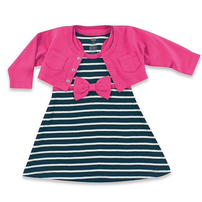Alternate image 1 for BabyVision® Hudson Baby® 2-Piece Racerback Dress with Cardigan Set in Navy/Berry