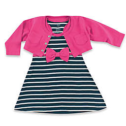 BabyVision® Hudson Baby® 2-Piece Racerback Dress with Cardigan Set in Navy/Berry