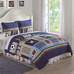 Sports Quilt Set in Denim/Khaki