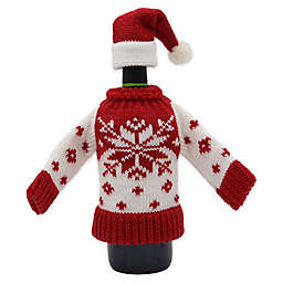 Snowflake Knit Sweater and Hat Bottle Cover Set