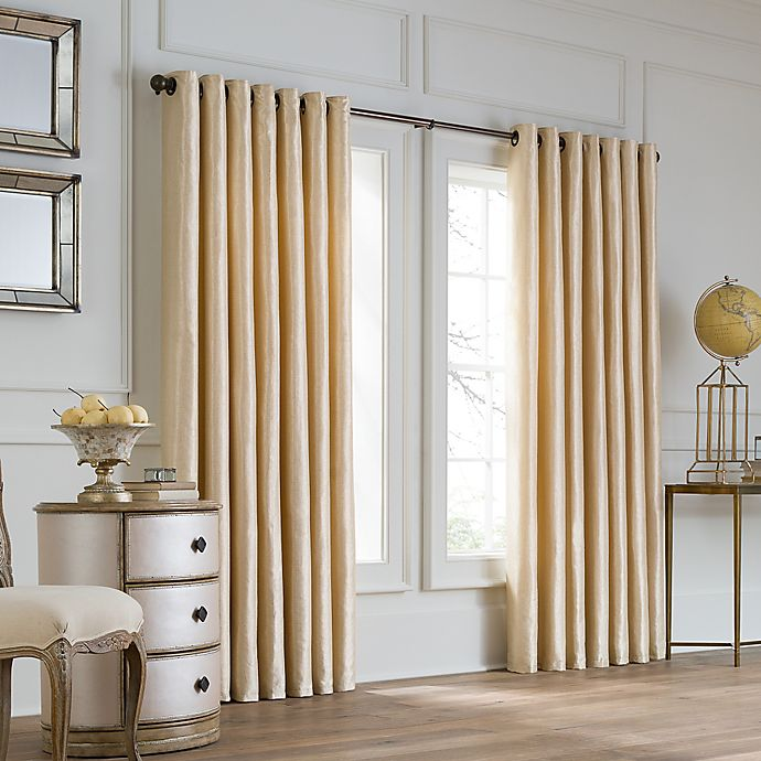 Alternate image 1 for Valeron Lustre Grommet Top 108-Inch Width x 120-Inch Long Window Curtain Panel in Sand