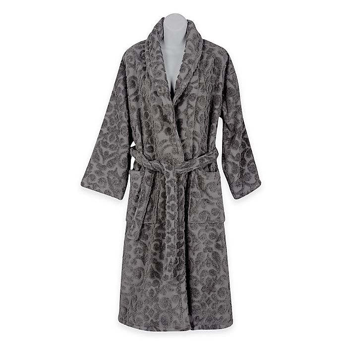 Alternate image 1 for SALBAKOS Extra-Large/Size 1X Sculpted Turkish Cotton Bathrobe in Charcoal