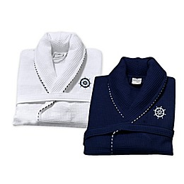 Turkish Cotton Sailor Waffle Bathrobe with Embroidery