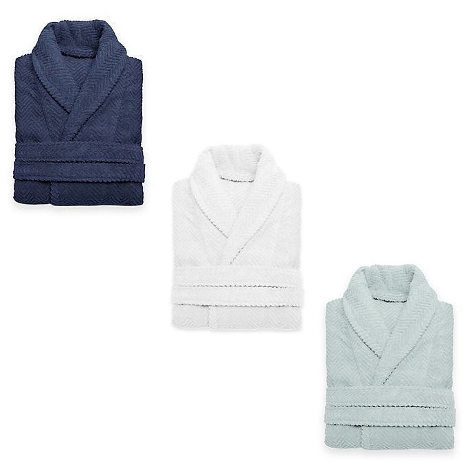 Alternate image 1 for Linum Home Textiles Herringbone Unisex Turkish Cotton Bathrobe
