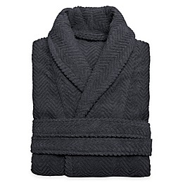 Linum Home Textiles Small/Medium Herringbone Unisex Turkish Cotton Bathrobe in Grey