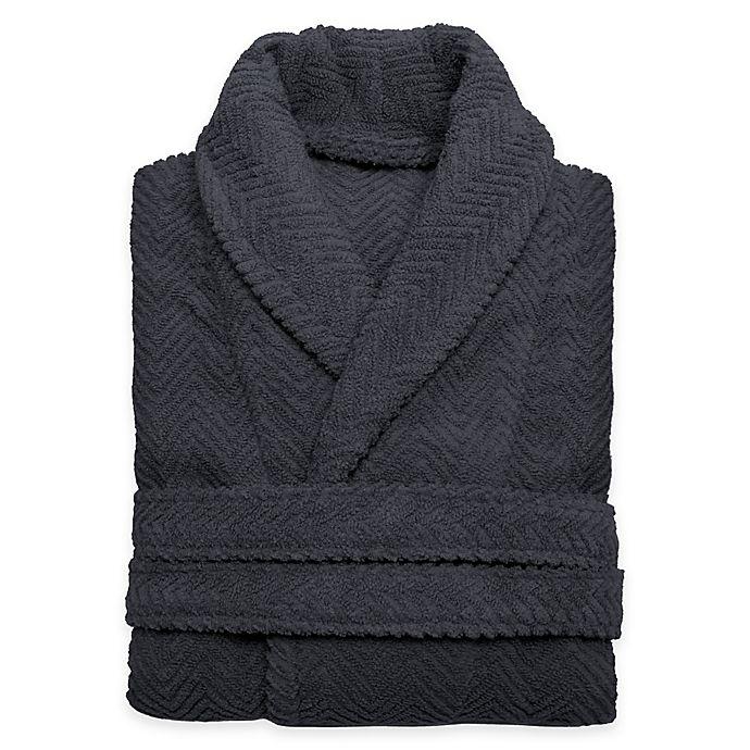 Alternate image 1 for Linum Home Textiles Large/Extra-Large Herringbone Unisex Turkish Cotton Bathrobe in Grey