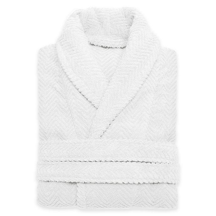 Alternate image 1 for Linum Home Textiles Small/Medium Herringbone Unisex Turkish Cotton Bathrobe in White
