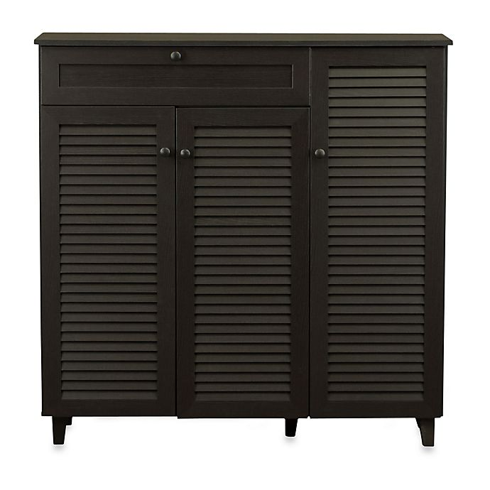 Baxton Studio Pocillo Wood Shoe Storage Cabinet In Dark Brown Bed