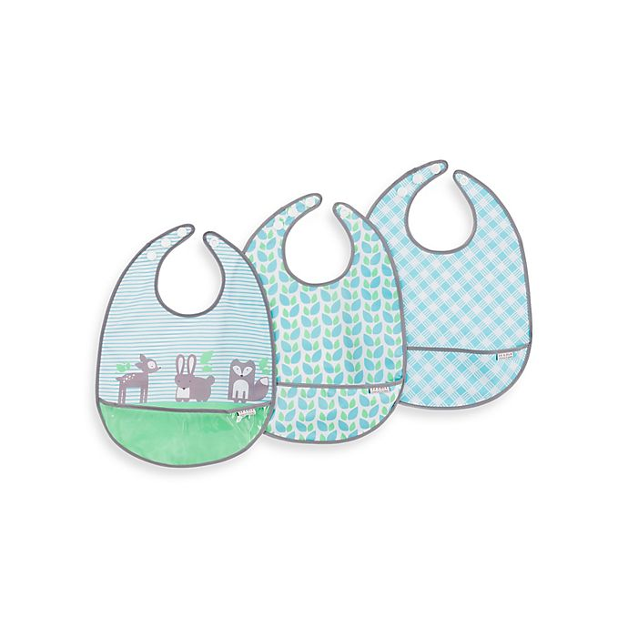 Alternate image 1 for JJ Cole 3-Pack Forest Fauna Pocketed Bibs in Blue/Green