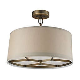 ELK Lighting Baxter 3-Light Pendant in Brushed Antique Brass with Beige Fabric Shade