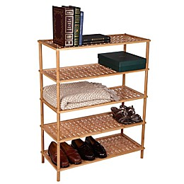 Household Essentials® Bamboo Basketweave Shoe Rack in Natural