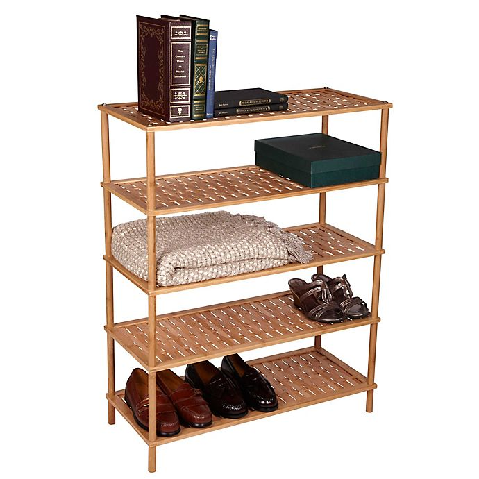 Alternate image 1 for Household Essentials® Bamboo Basketweave Shoe Rack in Natural