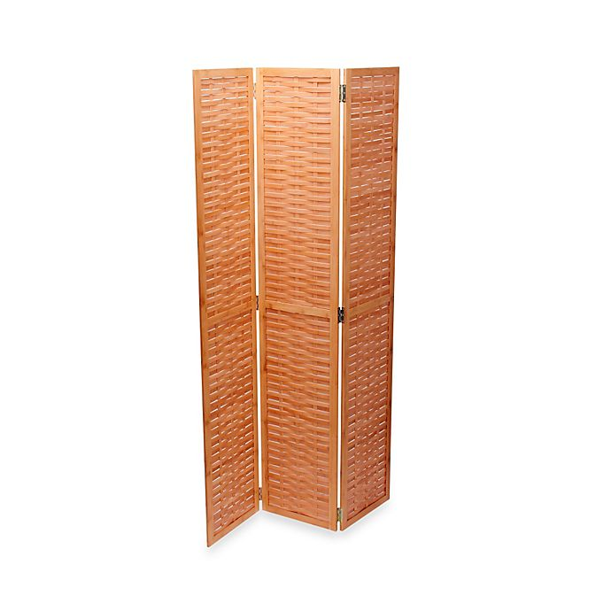 Alternate image 1 for Household Essentials® Bamboo Basketweave Tri-Fold Screen in Natural