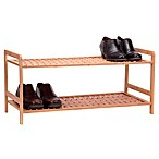 Household Essentials® 2-Tier Bamboo Basketweave Shoe Rack in Natural