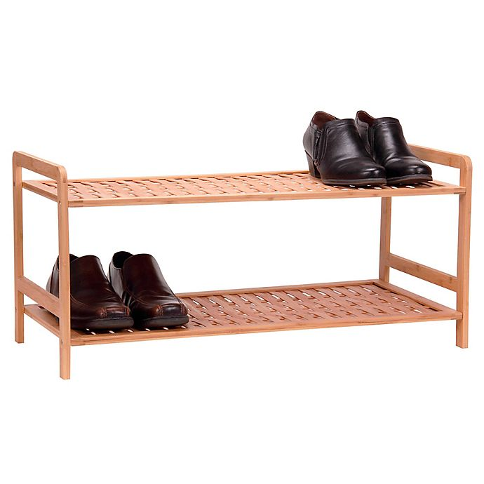 Alternate image 1 for Household Essentials® 2-Tier Bamboo Basketweave Shoe Rack in Natural