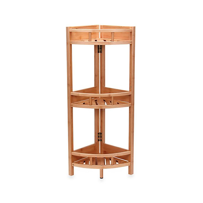 Alternate image 1 for Household Essentials® 3-Shelf Bamboo Corner Shelf in Natural