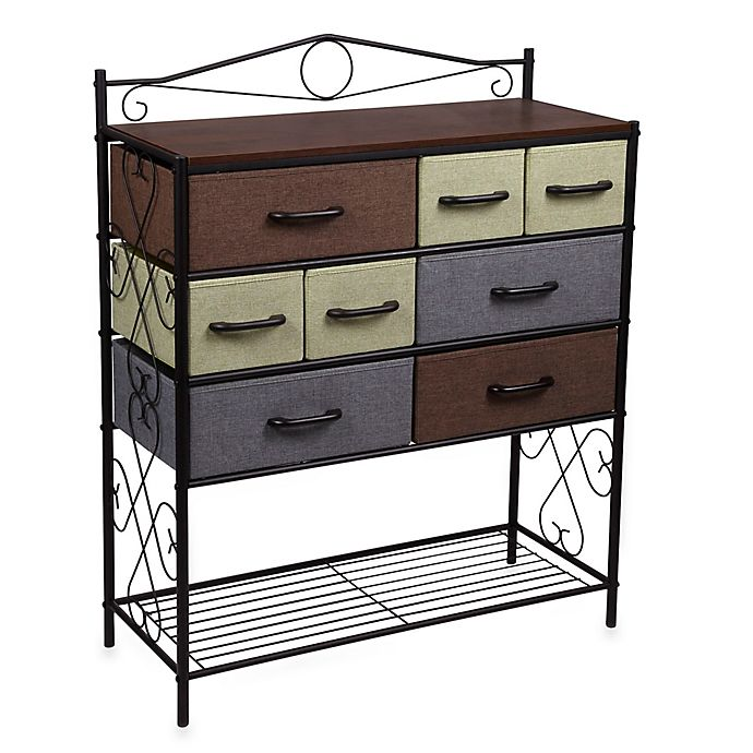 Alternate image 1 for Household Essentials® 8-Drawer Chest with Shelf in Black