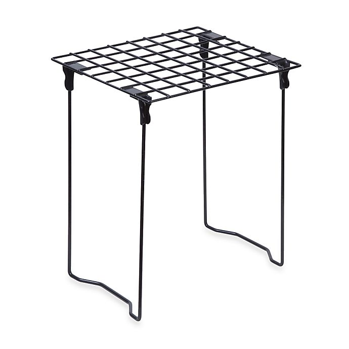 Alternate image 1 for Honey-Can-Do® Stackable Steel Folding Locker Shelf in Black