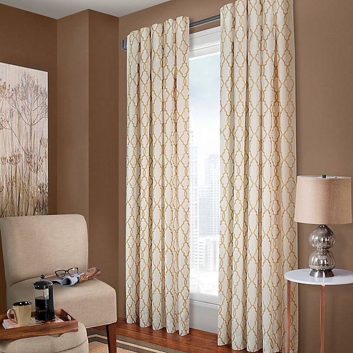 Alternate image 1 for Designer's Select Claudia Geo 108-Inch Back Tab Window Curtain Panel in White Sand