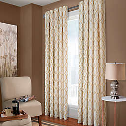 Designer's Select Claudia Geo 95-Inch Back Tab Window Curtain Panel in White Sand