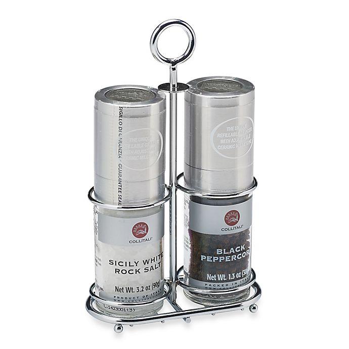 Alternate image 1 for Collitali Sea Salt and Pepper Mills Set with Metal Rack