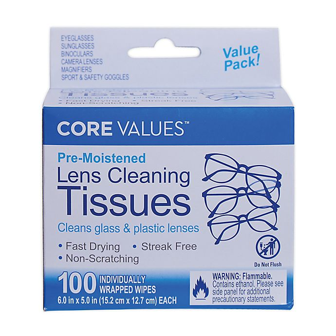 Alternate image 1 for Core Values™ 100-Count Lens Wipes