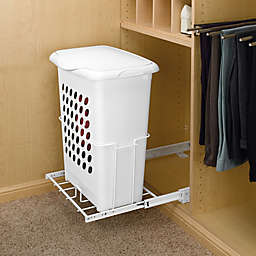 Rev-A-Shelf - HPRV-1925 S - White Polymer Pull-Out Hamper with Lid and Full-Extension Slides