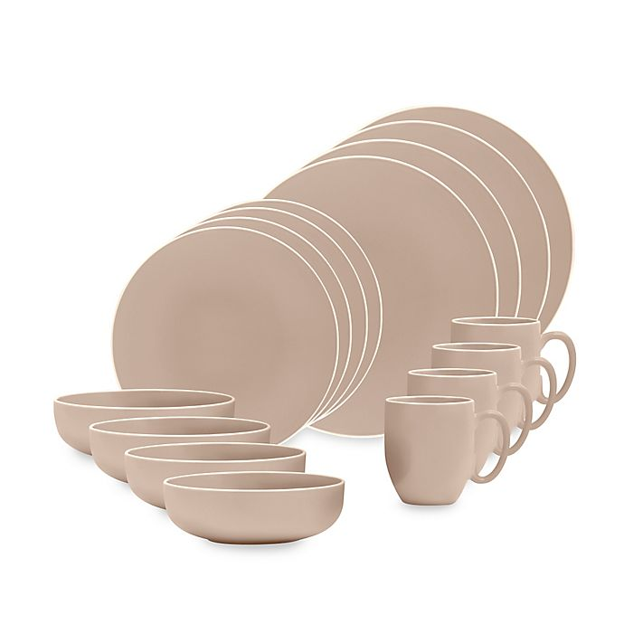 Alternate image 1 for Vera Wang Wedgwood® Vera Colors 16-Piece Dinnerware Set in Taupe