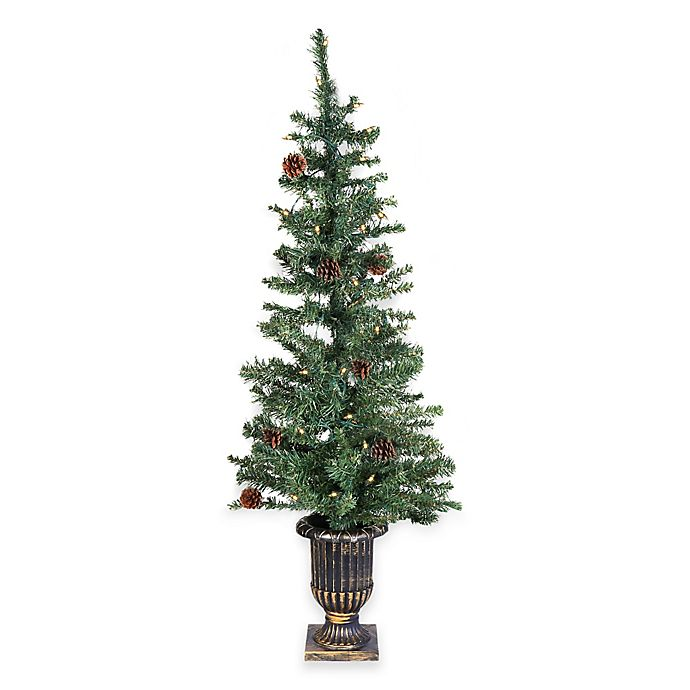4 foot pre lit decorated porch tree