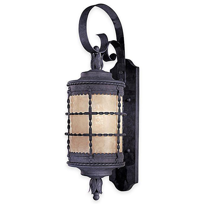Alternate image 1 for Minka Lavery® Mallorca™ Wall-Mount Outdoor 28.25-Inch 1-Light Lantern in Iron