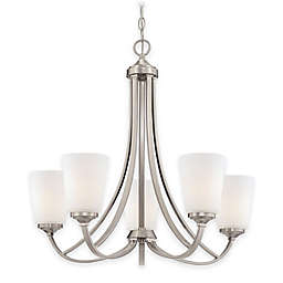 Minka Lavery® Overland Park 5-Light Chandelier in Brushed Nickel with Opal Etched Glass Shade