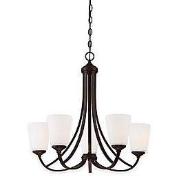Minka Lavery® Overland Park 5-Light Chandelier in Vintage Bronze with White Etched Glass Shade