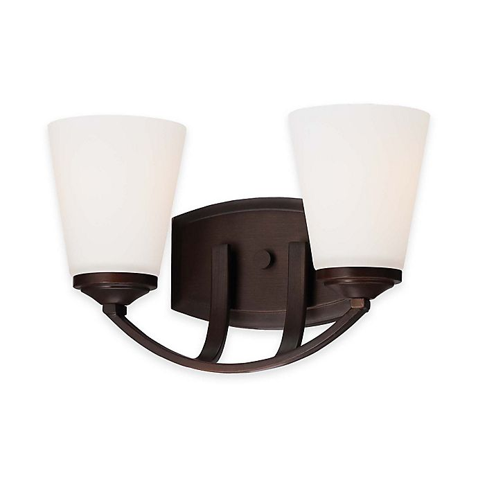 Alternate image 1 for Minka Lavery® Overland Park 2-Light Wall-Mount Bath Fixture in Vintage Bronze with Glass Shade