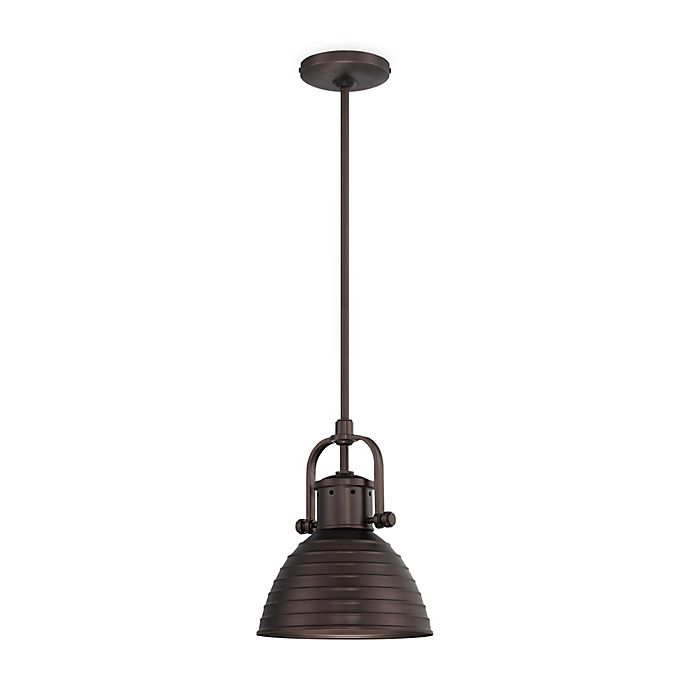 Alternate image 1 for Minka Lavery® 1-Light Mini Pendant Light in Bronze with Metal Shade