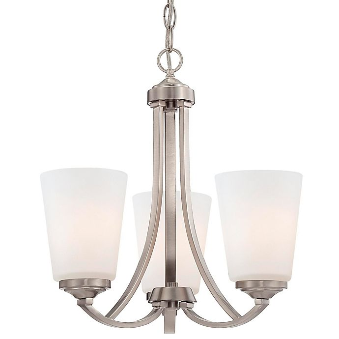 Alternate image 1 for Minka Lavery® Overland Park 3-Light Mini Chandelier in Brushed Nickel with Glass Shade