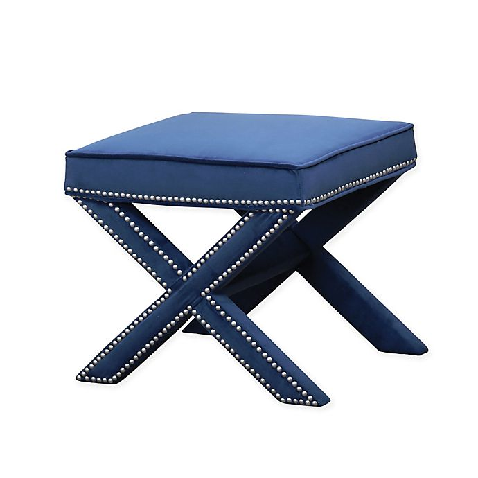 Alternate image 1 for Abbyson Living® Arc Nailhead Trim Ottoman Bench in Blue