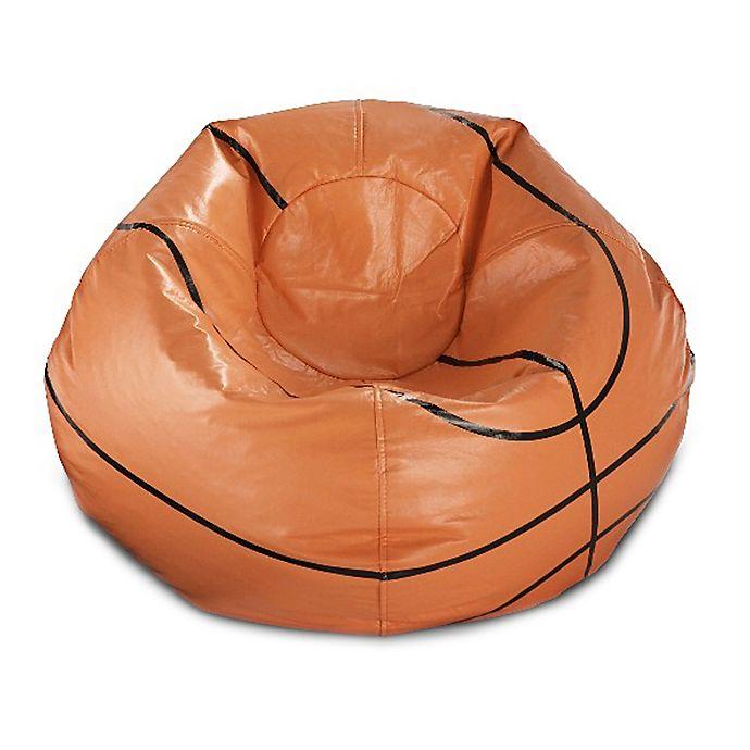 Alternate image 1 for Round Basketball Bean Bag in Matte Orange/Black