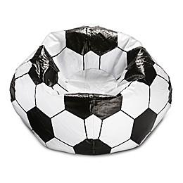 Round Soccer Ball Bean Bag in Matte White/Black