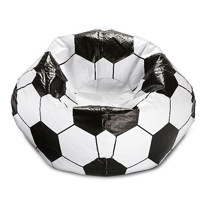 Alternate image 1 for Round Soccer Ball Bean Bag in Matte White/Black