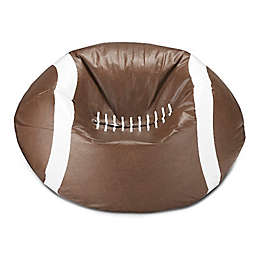 Round Football Bean Bag in Matte Brown/White