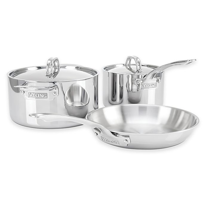Alternate image 1 for Viking® 3-Ply Stainless Steel 5-Piece Cookware Set
