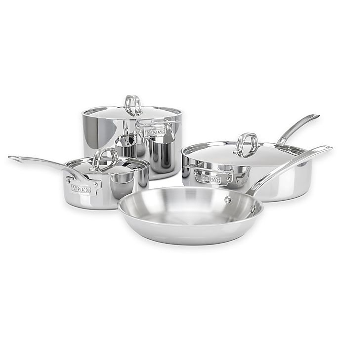 Alternate image 1 for Viking® 3-Ply Stainless Steel 7-Piece Cookware Set